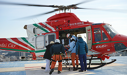 A helicopter transporting a mock patient